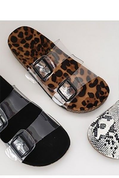 b11b90afb094 Clear Double Strap Buckle Sandals with Animal Print Sole-Leopard Print