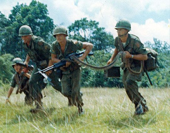 """""""A machine gun team from C Company, 2-16 Infantry sometime before the battle at Courtenay Plantation."""" (1966)"""