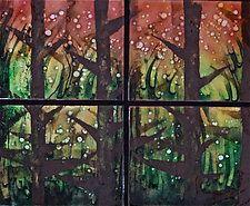 """Woodland Fireflies Quartet by Cynthia Miller (Art Glass Wall Sculpture) (21"""" x 25"""")"""