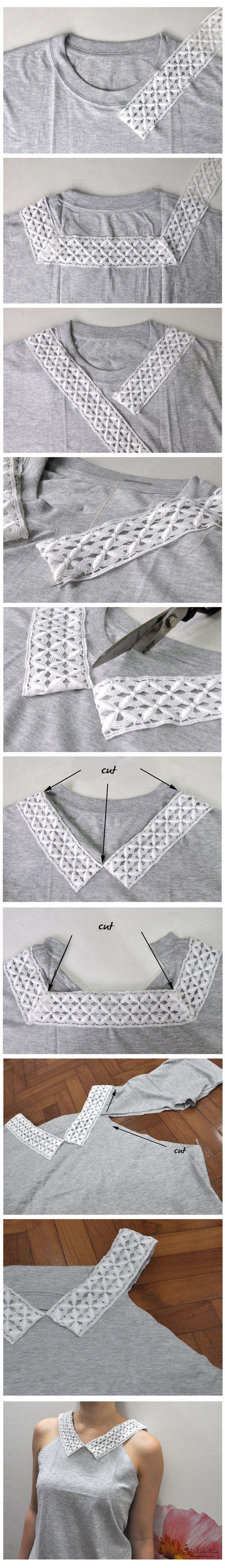 Remodele uma camiseta meio-sem-graça e transforme numa peça super fashion para usar no dia a dia. Encontre um pedaço de renda de comprimento suficiente para cobrir a gola da camiseta ...Read more