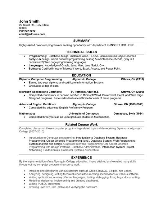 Samples Software Developer Resumes Entry Level Software Developer