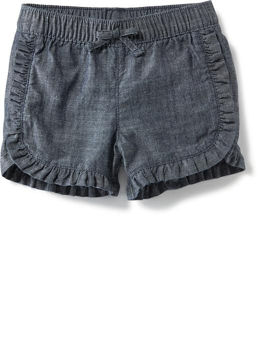Ruffle-Trim Chambray Shorts Product Image