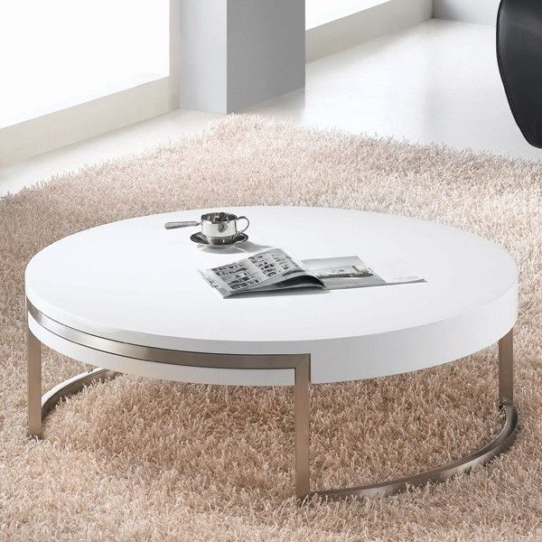 Whiteline Ross Wooden Coffee Table Living Room Furniture Ultra Modern White Round Coffee Table Coffee Table White Living Room Coffee Table