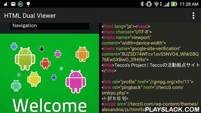 """HTML Dual Viewer  Android App - playslack.com ,  Corresponding to search Google, it is a two-screen HTML Viewer.NEW!! Syntax Highlighter like """"Sublime text""""*Syntax Highlighter is very heavy process. If your phone freeze, you had better changing background color to """"Blue"""".[How to use]Browser screen left, the right to display the HTML source at the same time .Make it easy to adjust the width of each screen.You can check the HTML source to compare left and right.Because it corresponds also…"""