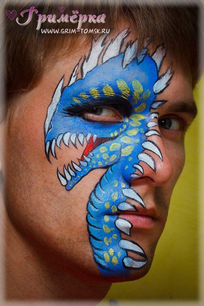 Аквагрим, грим, синий дракон face painting, make-up, blue dragon Идея: Ольга Мелека