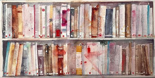 """Bibliothèque"" - watercolour on rough Arches paper, by Barbara Luel"