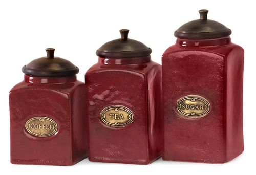 """Red Ceramic Canisters - Set of 3 6.25-7.25-7.5""""""""h x 3.5""""""""w x 3.5"""""""""""
