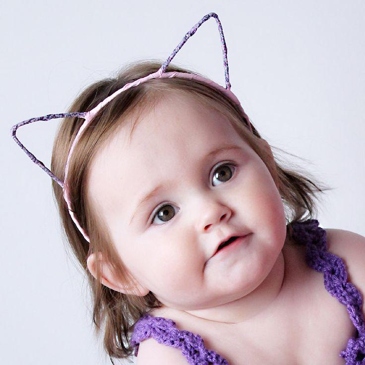 Girls Cat Ears Headband: Pink K1020 by KorkeKids on Etsy