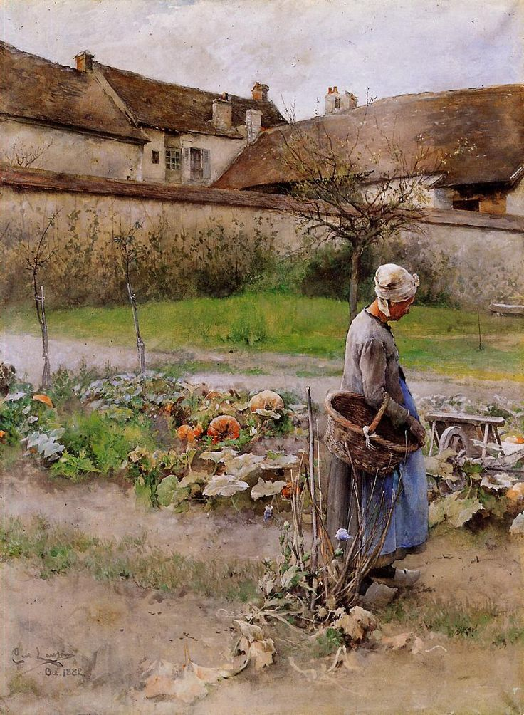 October, aka The Pumpkins, 1882-1883, Carl Larsson. Swedish Realist Painter (1853 - 1919)