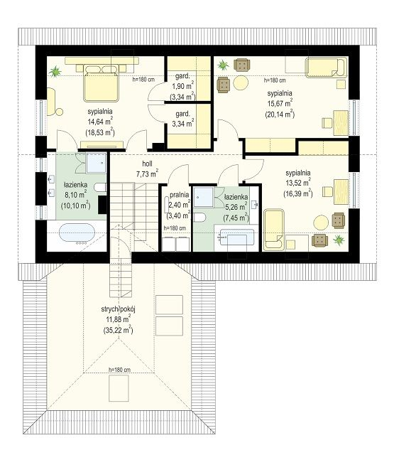 Projekt domu Viking 4 - rzut poddasza