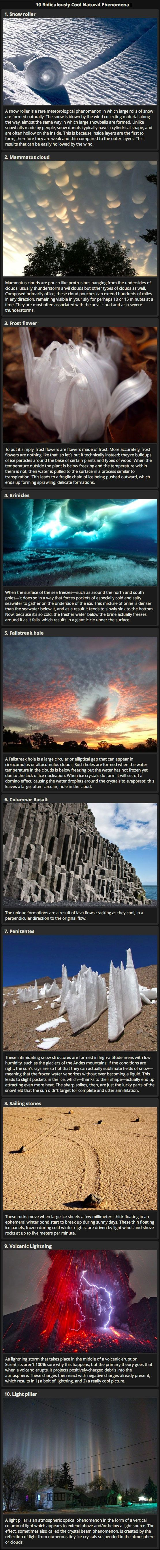 We have rounded up some ridiculously cool natural phenomena that you may not have known about.