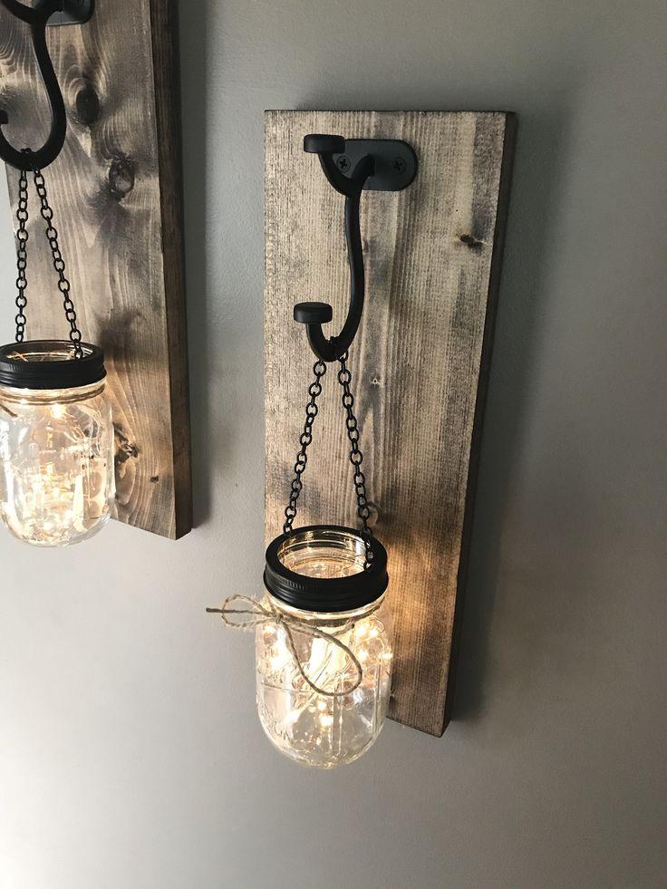 Hängende Wandleuchte aus Einmachglas | 2er Set Einmachglas Wandleuchte mit Lichtern | leuchten einmachglas wandleuchte | Wandleuchtenset zum Leuchten   – Steigerhout
