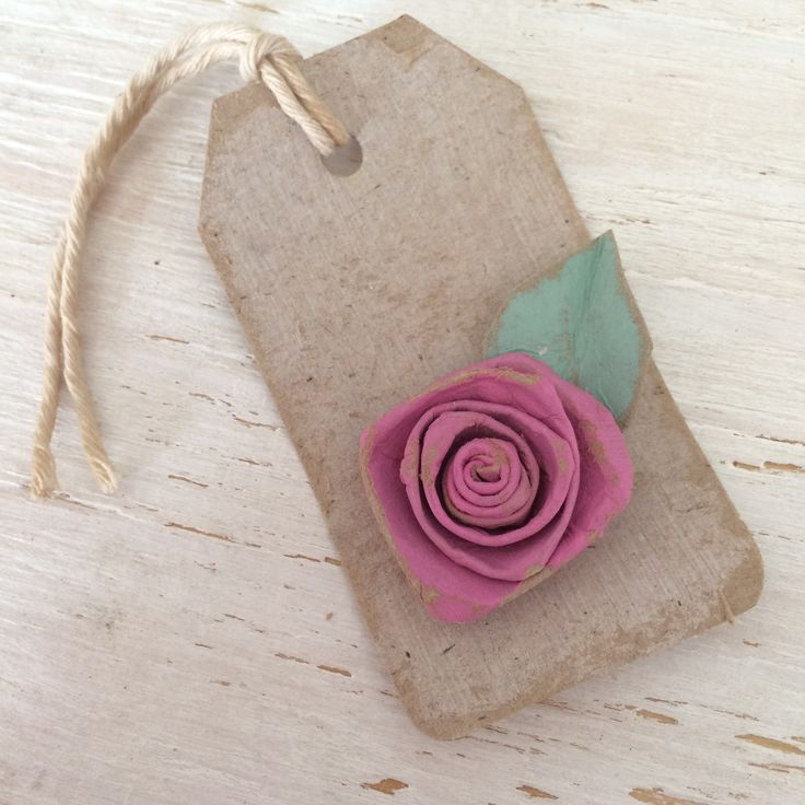 Shabby chic vintage rose gift tag, handcrafted from recycled stuff.  #shabbychic #vintage #handcrafted #recycled #rose #gift
