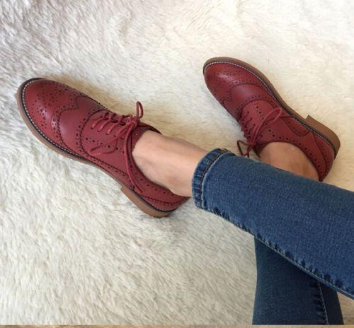 Vintage-para-mujer-Oxfords-Plana-Tacon-Bajo-Brogues-punta-del-ala-Con-Encaje-Estilo-Retro-Y-Zapatos