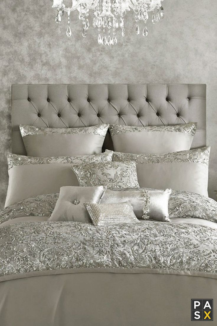 Alexa by Kylie Minogue Duvet Cover - A glamorous Kylie Minogue duvet cover featuring shimmer sequins in a paisley pattern. The reverse is made from 100% cotton with a luxurious 200 thread count, so it will feel super soft all night long.