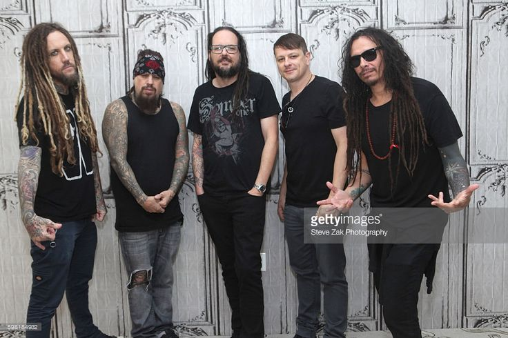 Brian Welch, Reginald Arvizu, Johnathan Davis, Ray Luzier and James Shaffer of Korn attend Build Series to dicuss their new album 'The Serenity of Suffering' at AOL HQ on August 31, 2016 in New York City.