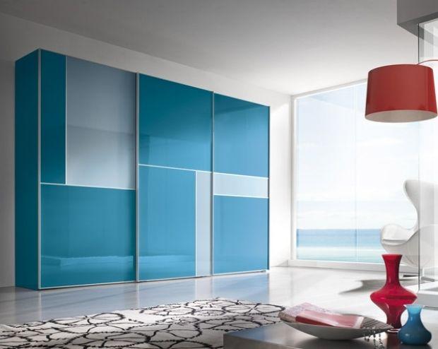 Elegant modern schrank schiebet ren blau muster teppich geometrische form