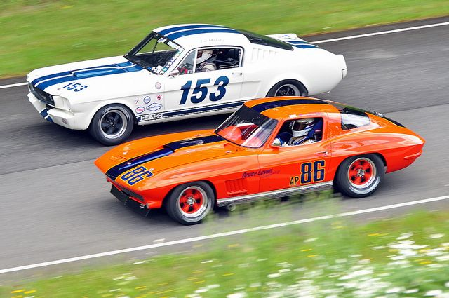Corvette vs. Mustang...the year was 1965...Shelby built the first GT 350...and yes it beat the Corvettes...