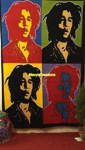Bob Marley Print Ethnic Indian Wall Hanging Tapestry Twin Throw Ethnic Bedspread Decor Size ( 60 x 90 Inches )