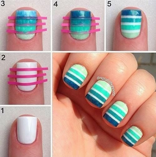 Striped Volleyball Nail Art Tutorial Chikk