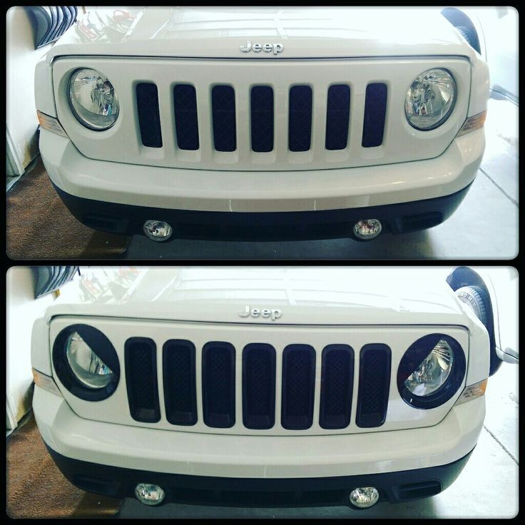 2015 Jeep Patriot with black angry eyes headlight covers