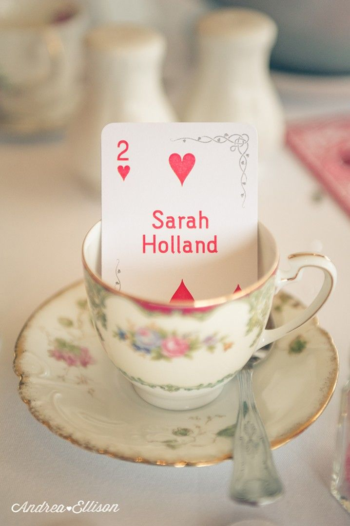 Playing card as place name-tea party/alice in wonderland theme
