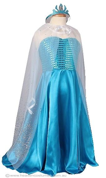 Frozen Princess Girls Elsa Costume - Frozen Princess Girls Elsa Costume  Become a beautiful Snow Queen in this girls Elsa fancy dress costume. This girls Frozen Elsa costume is perfect for your next Disney princess costume party, or as this years Book Week costume idea. Includes:  Dress Cape Tiara  Description:   Blue dot sequined dress with white mesh chest line and sleeves. The dress has a flared blue satin skirt with side splits. White mesh cape with shoulder ...