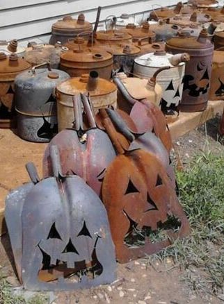 Dust Pans & Gas Cans turned Halloween decor