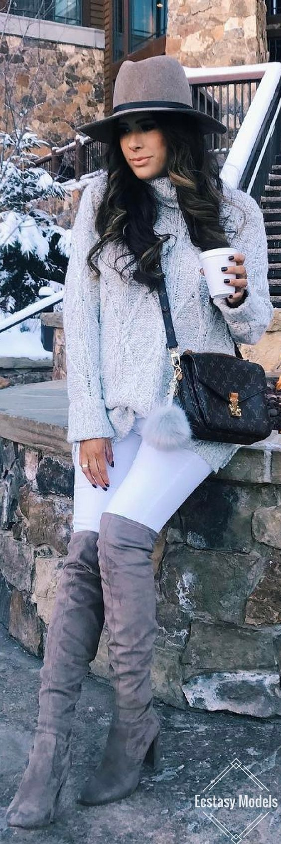 Chunky cable knit sweater & my Stuart Weitzman look-a-like boots // Fashion Look by The Sweetest Thing