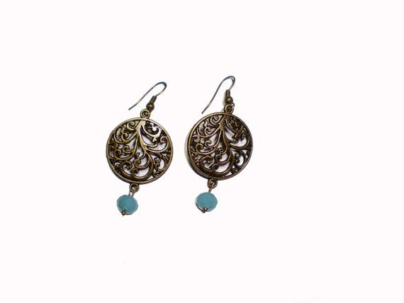 Dangle Earrings Blue Dangle Earrings Dangle by twolittlefairies