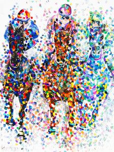 Tracey Keller The Race Original horse racing painting equestrian