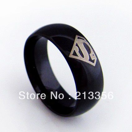 Free Shipping!USA Hot Selling E&C TUNGSTEN JEWELRY Cool Men's Tungsten Carbide Rings New Black Superman The LORD One Ring