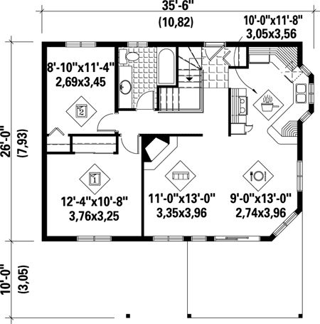 1000 images about garage apartment house plans on for One bedroom house plans with basement