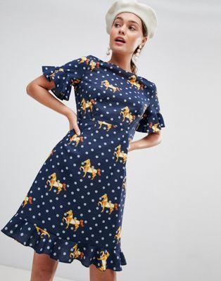 636d33d814 Traffic People Frill Hem Midi Dress In Polka & Horse Print | fashion ...