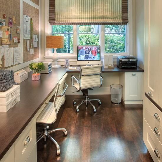 large corner office design for two