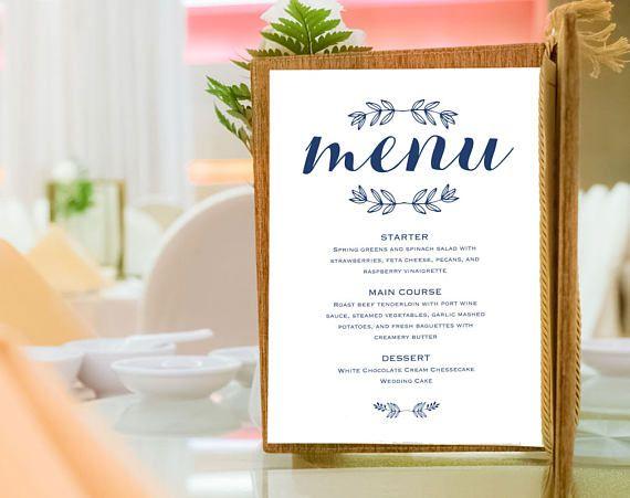 free wedding menu template pdf