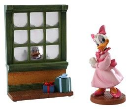 WDCC Disney Classics Mickeys Christmas Carol Reflections Of Christmas Past #WDCCDisneyClassics #Art. Ebenezer Scrooge (portrayed of course by Scrooge McDuck) is discovering the Christmas spirit the hard way—revisiting his past by gazing through the window (plussed with clear plastic panes) of Fezzywig's Tea Shop. In this charming version of the Dickens classic put on by Mickey and his friends, many Disney favorites put in a welcome appearance, including glamorous Daisy.
