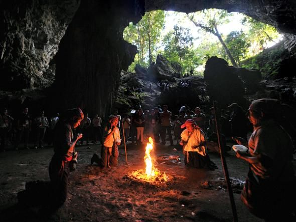 "Spiritual leaders perform a Maya ritual inside the ""Naj Tunich"" (""Stone House"" in Mayan language) caves in the municipality of Poptun, Peten, north of Guatemala City."