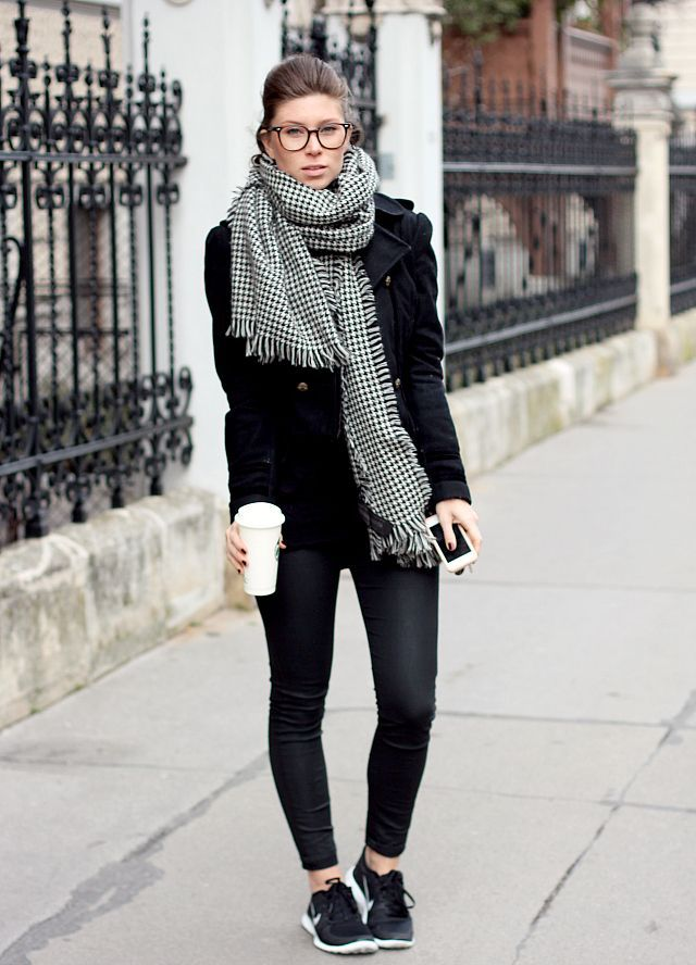 All black with statement scarf