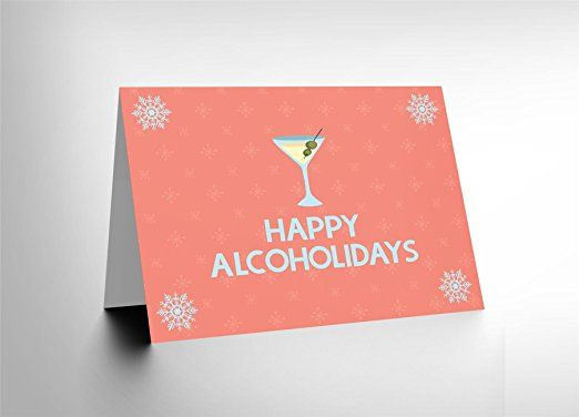 CARD CHRISTMAS XMAS MERRY HAPPY HOLIDAYS COCKTAIL PUN PRESENT GIFT CL1818