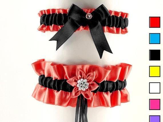 Set bridal garter red black garter wedding bridal wedding