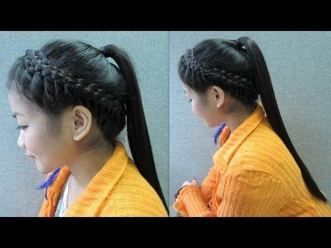 Crown Braid with Ponytail Hair Tutorial. I love crown braids and putting this with a ponytail makes it look even cooler and cuter !
