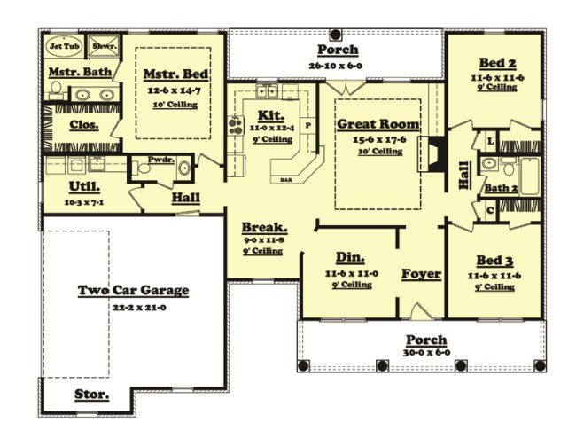 House Plan [Jasper From Planhouse   Home Plans, House Plans, Floor Plans, Design  Plans. Larger Master BATH U0026 Breakfast No Dining Room Part 49