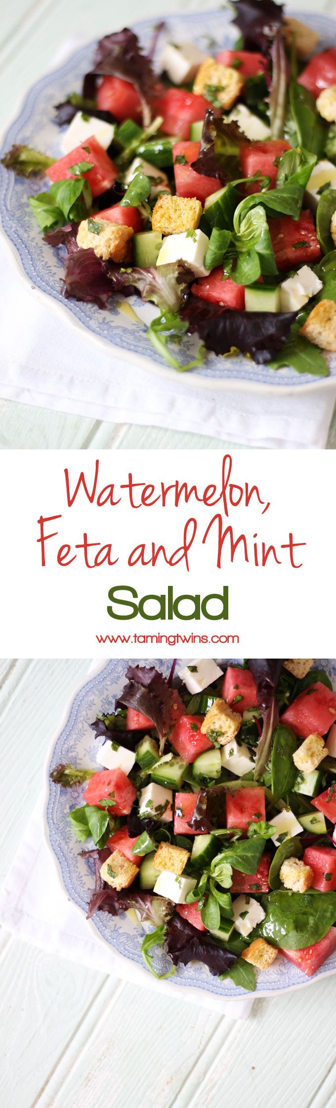 A feta, watermelon and mint salad with baby leaves and rocket. A light and delicious summer salad, with added croutons to make a meal of it. Perfect for an al fresco lunch or dinner. http://www.tamingtwins.com