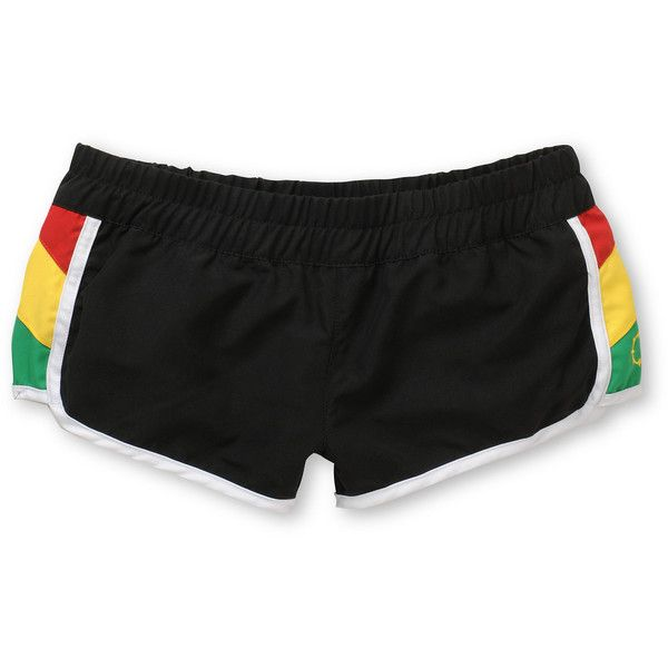 Empyre Girls Rasta Eddie Board Shorts ($25) ❤ liked on Polyvore featuring shorts, bottoms and sport