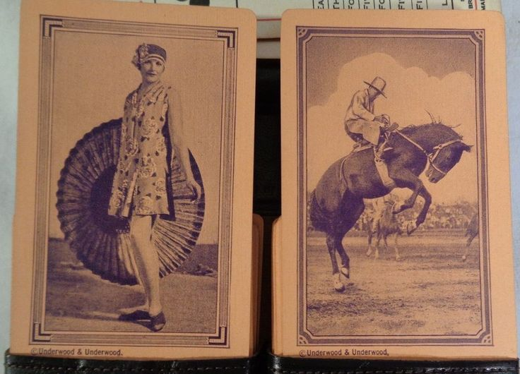 Antique Playing Cards - Flapper Girl Cards - Cowboy Cards - Antique Bridge Cards #UnderwoodUnderwood