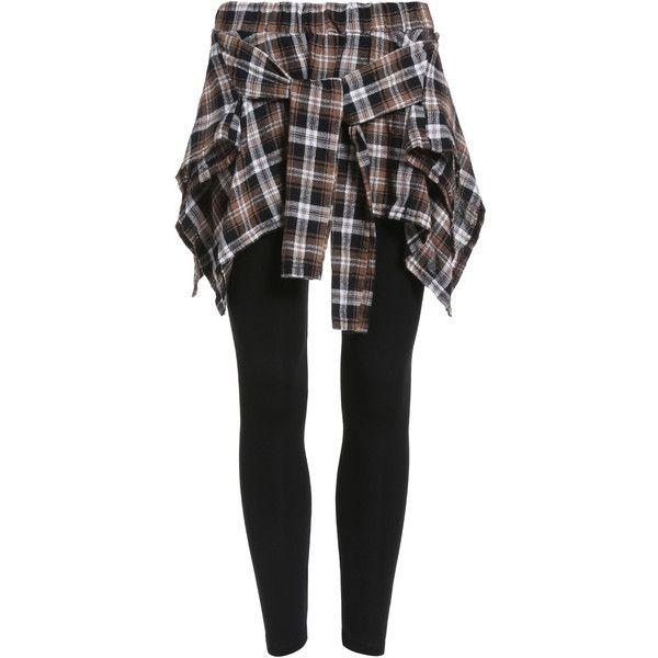 Elastic Waist Plaid Khaki Skirt Leggings ($15) ❤ liked on Polyvore featuring pants, leggings, multicolor, tartan pants, stretchy pants, multi colored leggings, tartan leggings and stretch pants