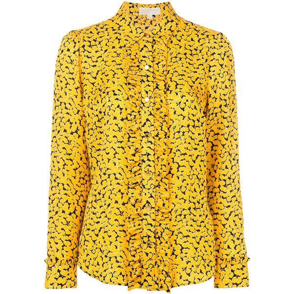 Michael Michael Kors floral print shirt ($355) ❤ liked on Polyvore featuring tops, yellow, floral shirts, long-sleeve shirt, yellow shirt, ruffle shirt and long sleeve ruffle shirt
