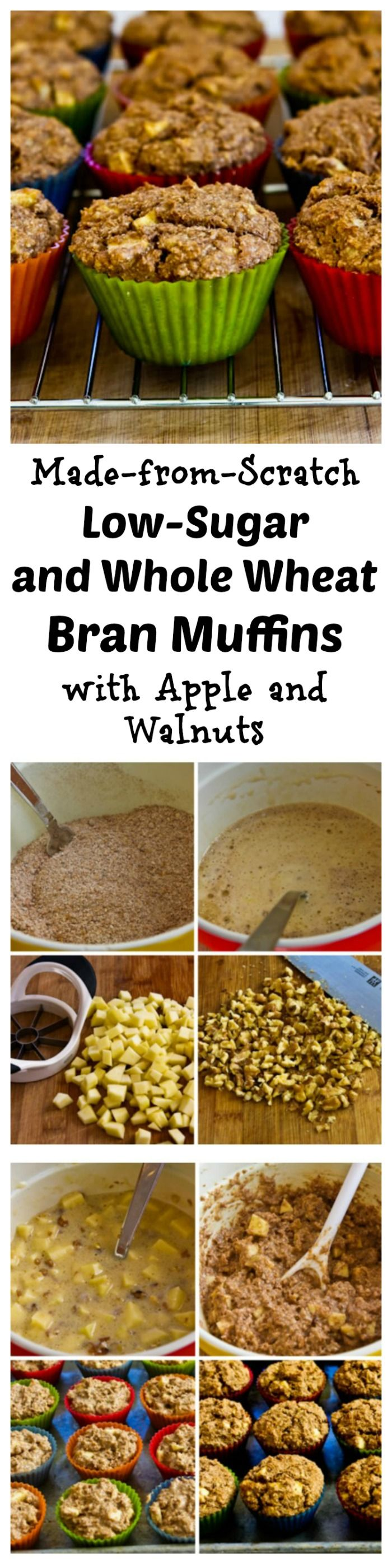 Made-from-Scratch Low-Sugar and Whole Wheat Bran Muffins with Apple and Walnuts.  Use your favorite sweetener in this deliciously healthy muffin recipe, perfect for #MothersDay brunch!  [from KalynsKitchen.com]