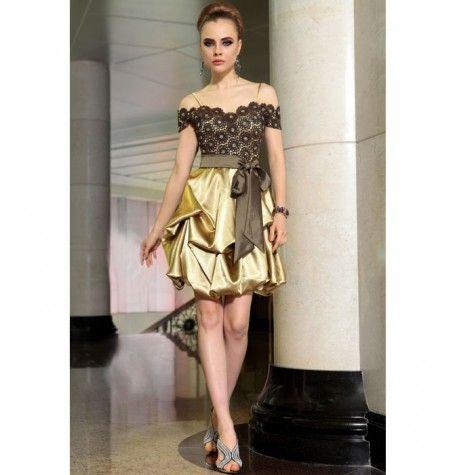 Gold Satin Dress by Belonda